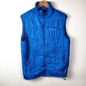 COLUMBIA Omni Heat Blue Full Zip Puffer Vest Large